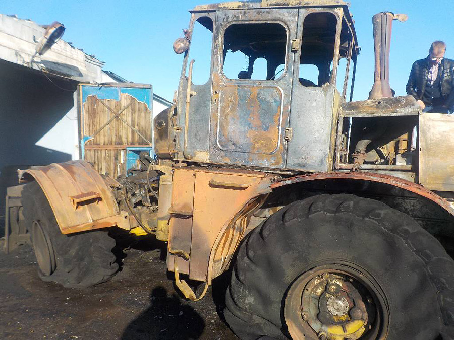 Под Бобруйском сгорел трактор